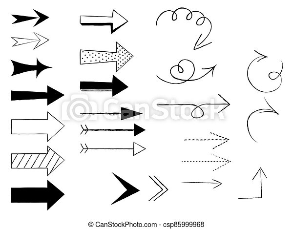 Doodle arrows on white background. Vector illustration. - csp85999968