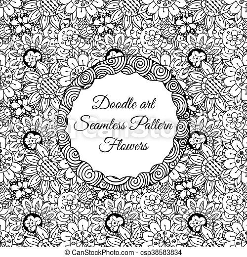 Doodle art. abstract seamless pattern with flowers. vector ...