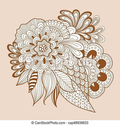 Doodle Art Floral Composition Henna Floral Tattoo Beautiful Doodle