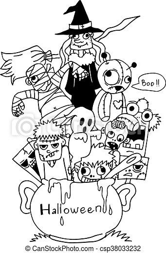 Halloween Vector Black And White.Doodle Art Halloween Vector