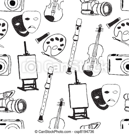Clip Art Vector of doodle art seamless pattern csp8194736 - Search ...
