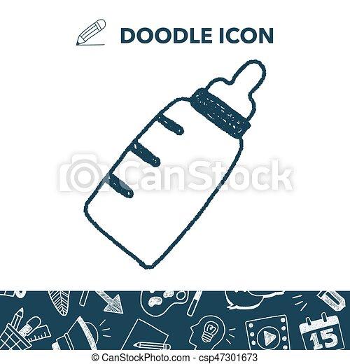 doodle baby milk bottle - csp47301673