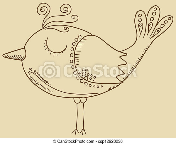 Doodle Bird Vector - csp12928238