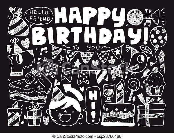 Doodle birthday party background clip art vector Search Drawings