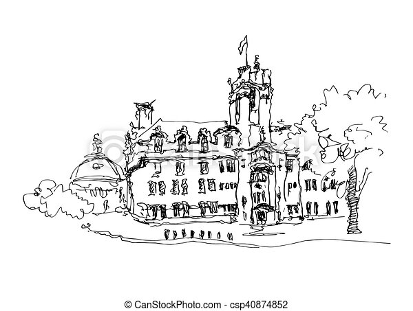 doodle black and white ink sketch drawing of famous place - csp40874852