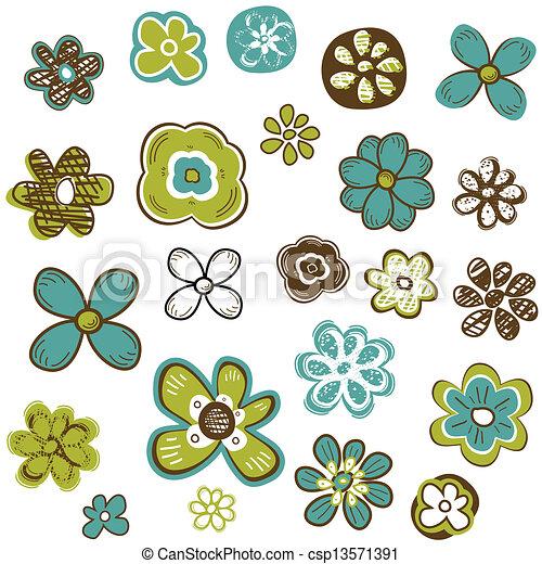 doodle, bloemen, set - csp13571391