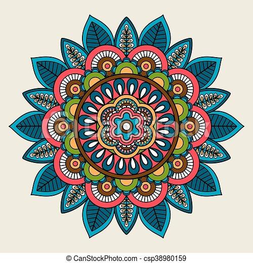 Doodle Boho Floral Colored Mandala