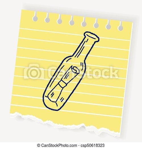 doodle, boodschap, fles - csp50618323