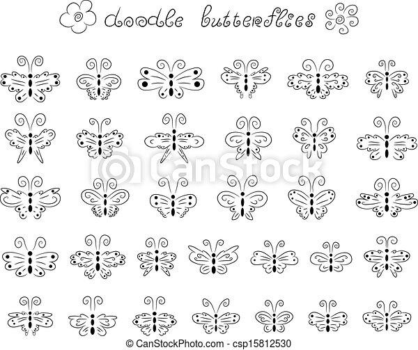 doodle, borboletas, cute - csp15812530