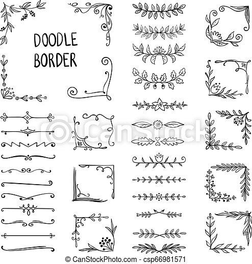 doodle border flower ornament frame hand drawn decorative corner elements floral sketch pattern vector doodle frame https www canstockphoto com doodle border flower ornament frame 66981571 html