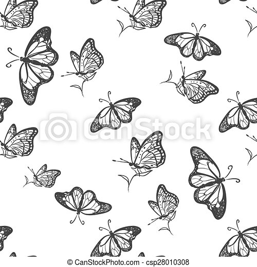 Doodle Butterfly Pattern Excellent Vector Illustration Eps 60 Impressive Butterfly Pattern