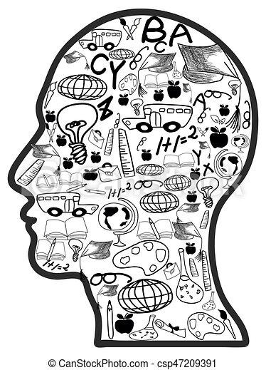 doodle, cabeça, educação, ícones - csp47209391