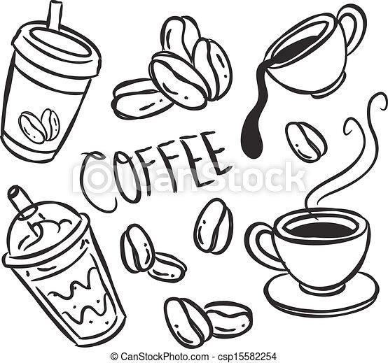 doodle, café - csp15582254