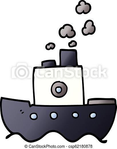 doodle, caricatura, bote, vapor - csp62180878