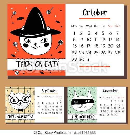 Doodle Cat Calendar Design Template 2018 Calendar With Funny Hand