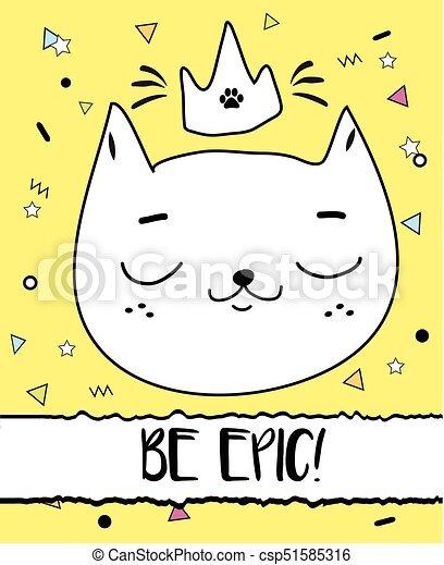 Doodle Cat In Crown Modern Postcard Print Design Template Inspirational Greeting Card