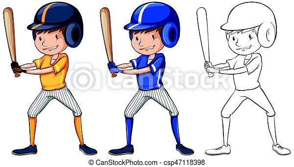 doodle character for baseball player illustration eps vectors rh canstockphoto com clip art girl baseball player clipart basketball player
