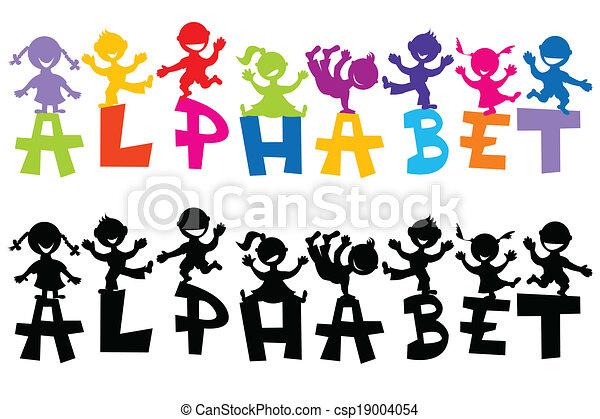 Doodle children with alphabet letters - csp19004054