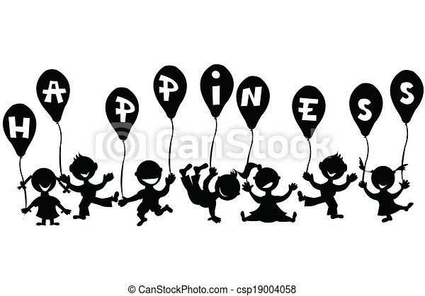 Doodle children with balloons - csp19004058