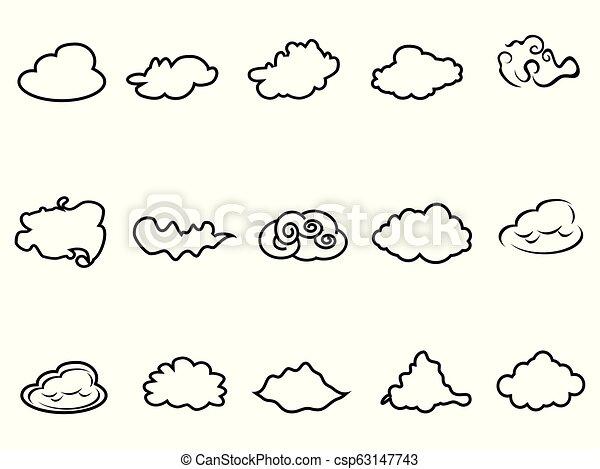doodle cloud outline icons set
