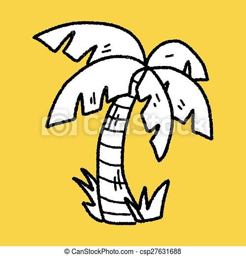 doodle coconut tree - csp27631688