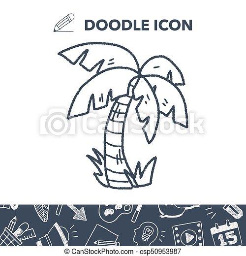 doodle coconut tree - csp50953987