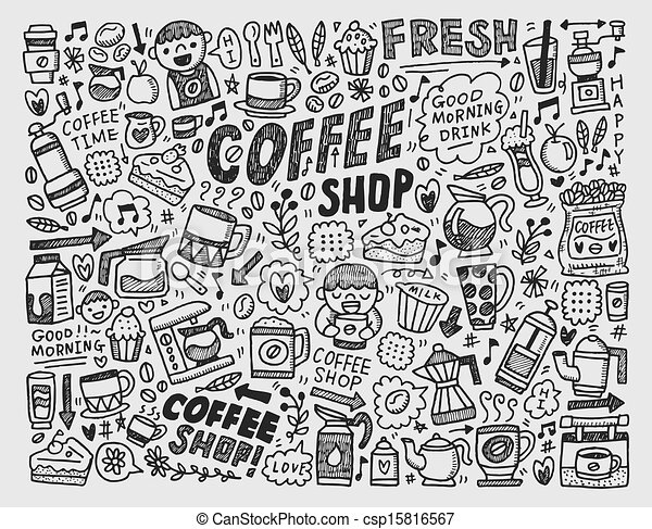 Doodle coffee element background clip art vector - Search Drawings ...