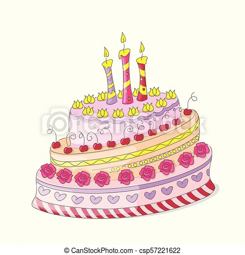 Terrific Doodle Colorful Birthday Cake With Roses And Three Candles Funny Birthday Cards Online Elaedamsfinfo