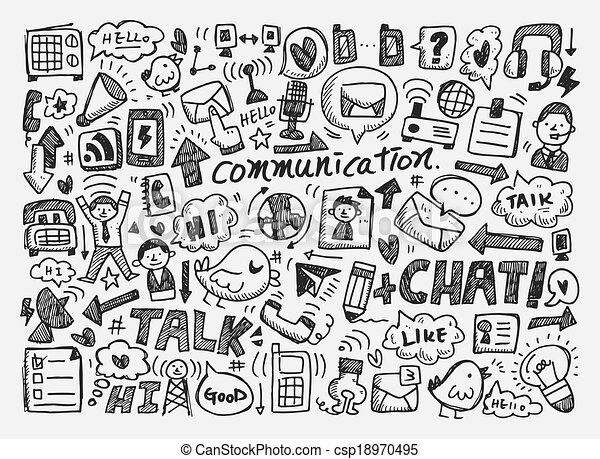 doodle communication background - csp18970495