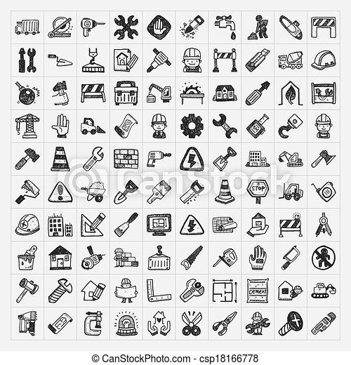 doodle construction icons - csp18166778