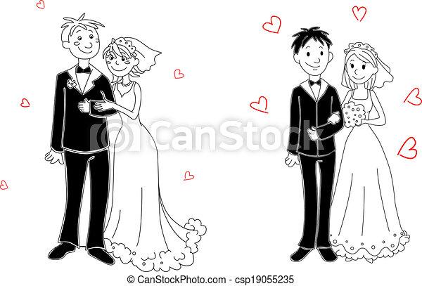 Doodle couple on wedding ceremony - csp19055235