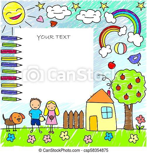 Doodle Criancas Desenhos Modelo Colorido Bola Criancas