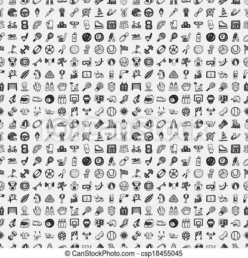 doodle, desporto, seamless, padrão - csp18455045