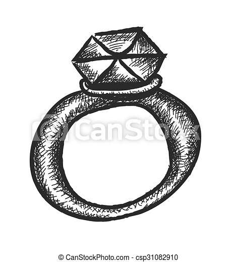 Doodle diamond wedding ring vector clip art Search Illustration