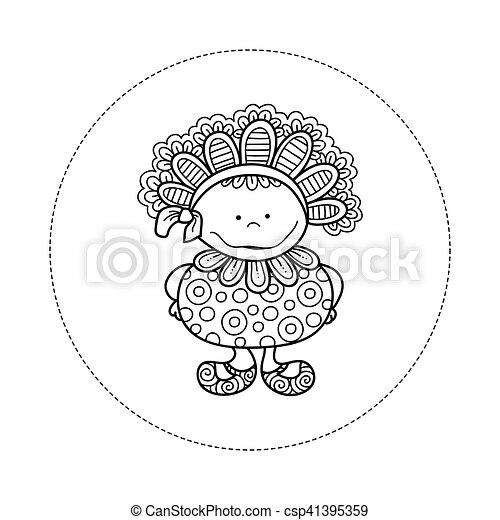 Doodle Doll with Bonnet Hand Drawn Doodle Vector - csp41395359