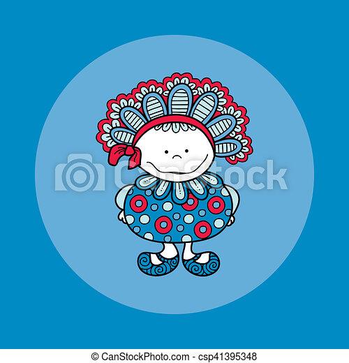 Doodle Doll with Bonnet Hand Drawn Doodle Blue Background - csp41395348