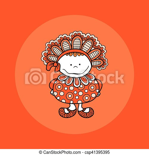 Doodle Doll with Bonnet Hand Drawn Doodle Vector Orange Background - csp41395395