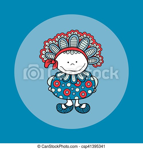 Doodle Doll with Bonnet Hand Drawn Doodle Vector Blue Background - csp41395341