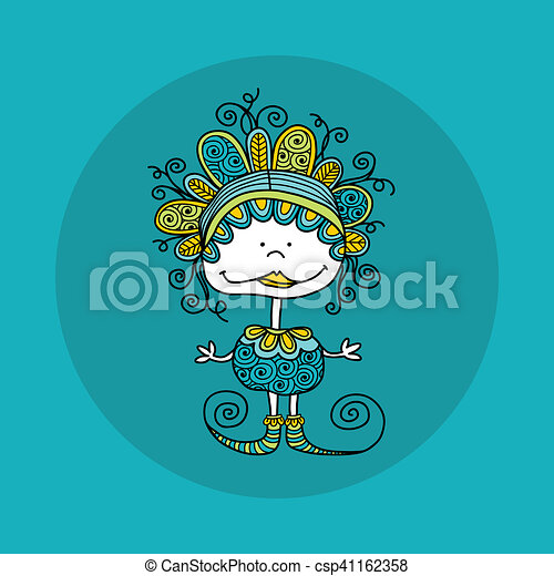 Doodle Doll with Curls Green - csp41162358
