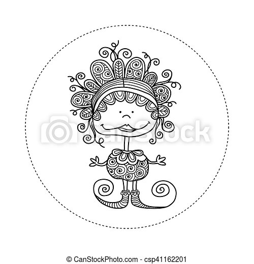 Doodle Doll with Curls Hand Drawn - csp41162201