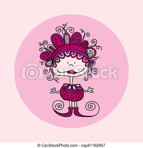 Doodle Doll with Curls Pink - csp41162407