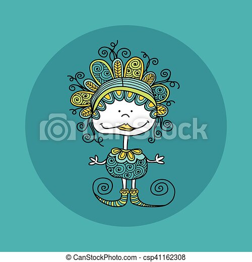 Doodle Doll with Curls Vector Green - csp41162308