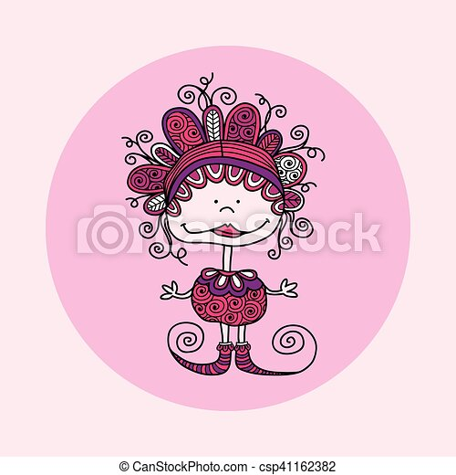 Doodle Doll with Curls Vector Pink - csp41162382