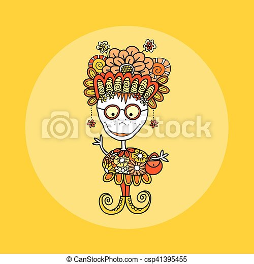 Doodle Doll with Flowers Hand Drawn Doodle Vector Yellow Background - csp41395455