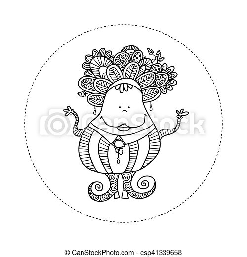 Doodle Doll with Jewels Hand Drawn Doodle Vector - csp41339658