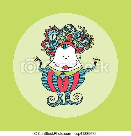 Doodle Doll with Jewels Hand Drawn Doodle Green - csp41339675