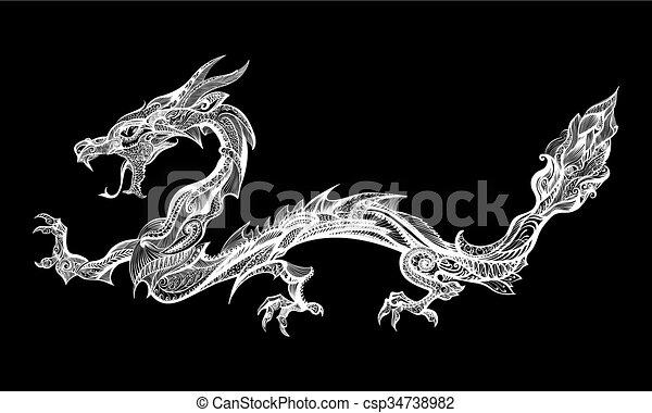 doodle dragon doodle white dragon isolated on black background