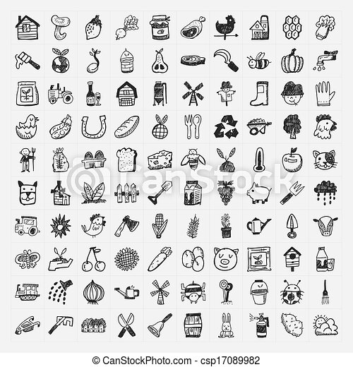 doodle farming icon set - csp17089982