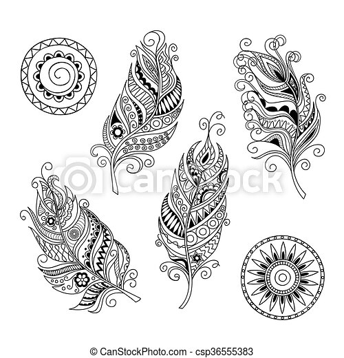 doodle feathers and mandalas - csp36555383