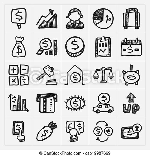 doodle financial icons - csp19987669